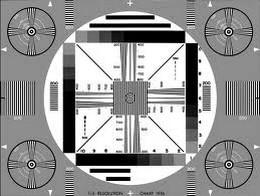 Zwart-wit televisie testbeeld jaren 60.